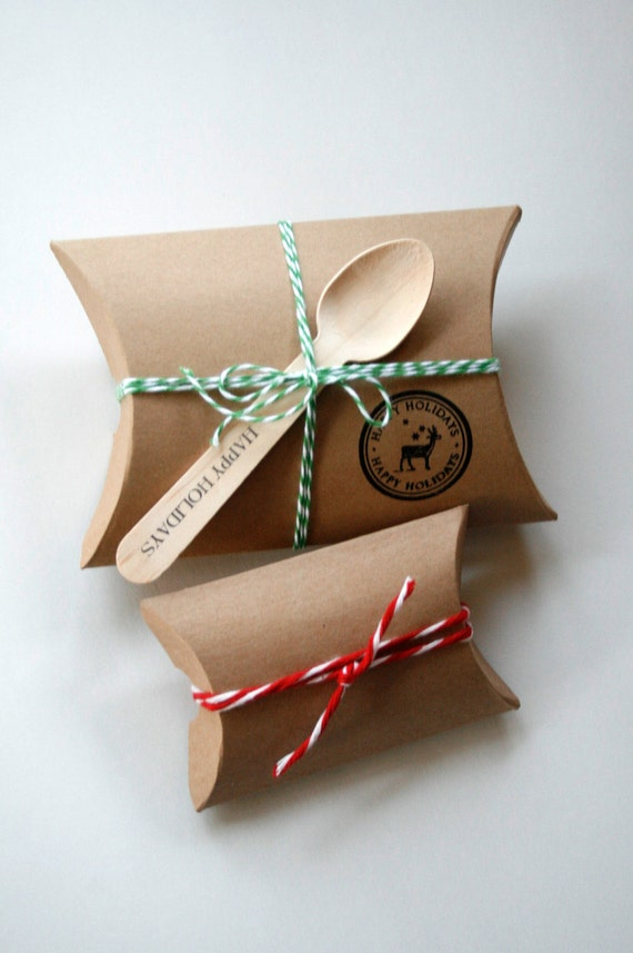 DIY Brown Small Kraft Pillow Boxes - set of 12 - Perfect for Embellishing with Deco Tapes - 3 1/2 x 3 x 1 Inches