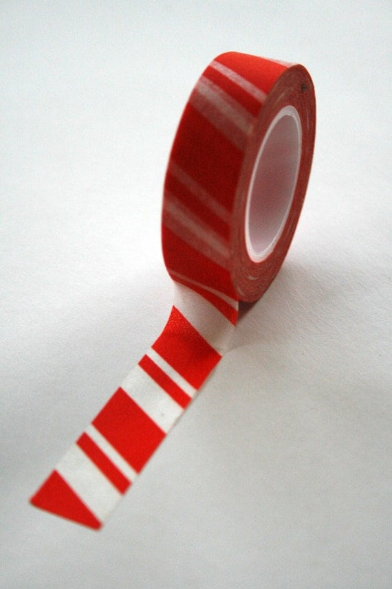 Washi Tape - 15mm - Red and White Candy Cane Stripe - Deco Paper Tape No. 145