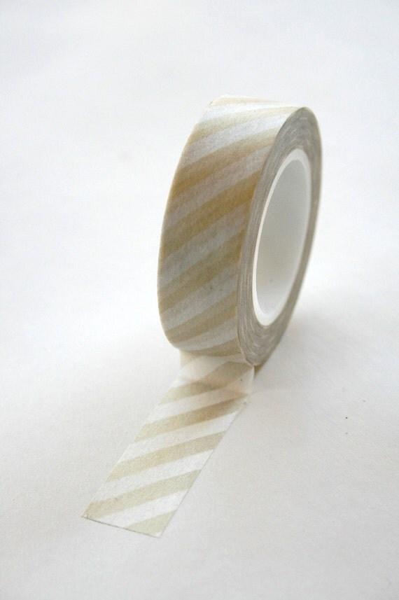 Washi Tape - 15mm - Gold on White Diagonal Stripes - Deco Paper Tape No. 155