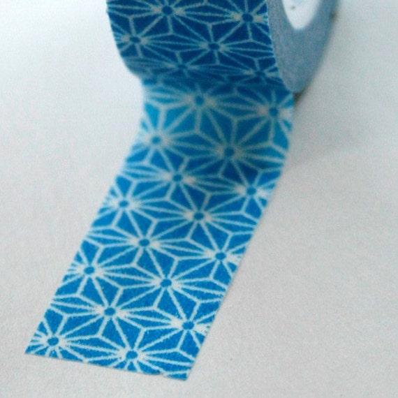 Washi tape 15mm bright blue and white geometric for Geometric washi tape designs