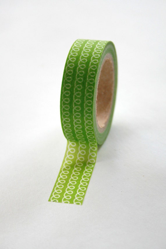 Washi Tape - 15mm - Green Loop - Deco Paper Tape No. 87