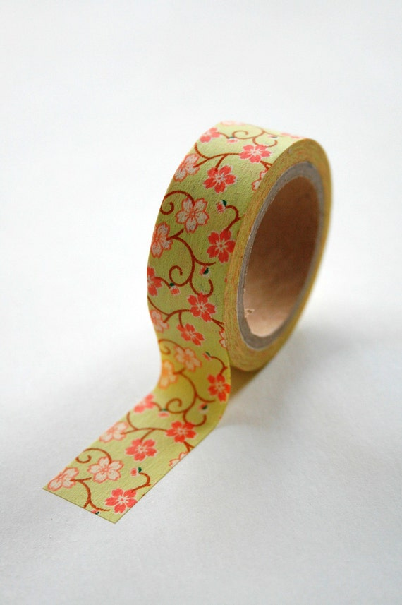 Washi Tape - 15mm - Lime and Coral Floral - Deco Masking Tape No. 230
