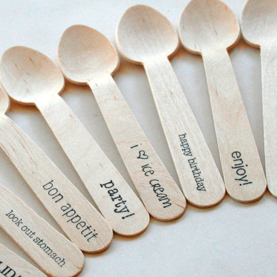 Disposable and Compostable Crafty Wooden Utensils Cutlery Greenware - 30 Pieces - Eco Natural - Your Choice of Standard Phrase