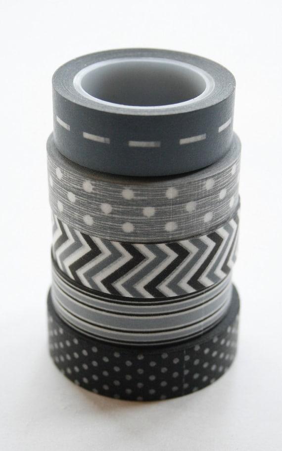 Washi Tape Set - 15mm - Combination AV - Grey and Black - Five Rolls Washi Tape