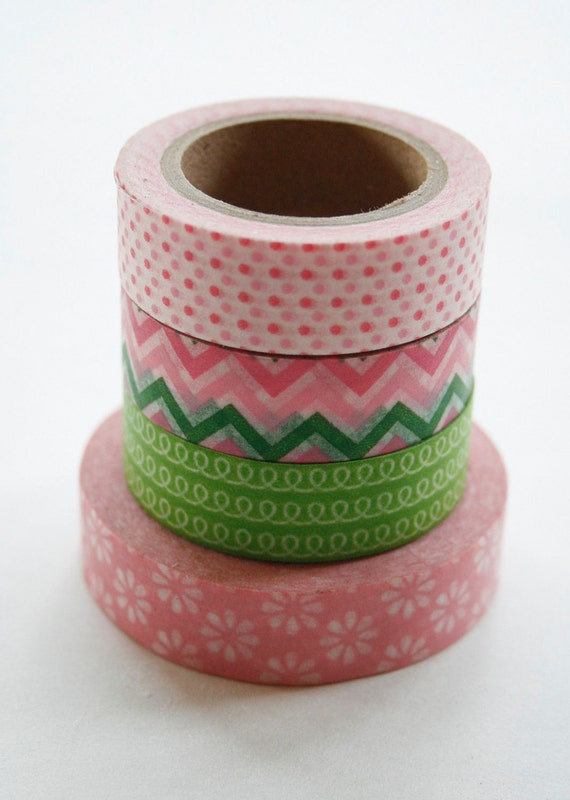 Washi Tape Set - 15mm - Combination AY - Green and Pink - Four Rolls Washi Tape