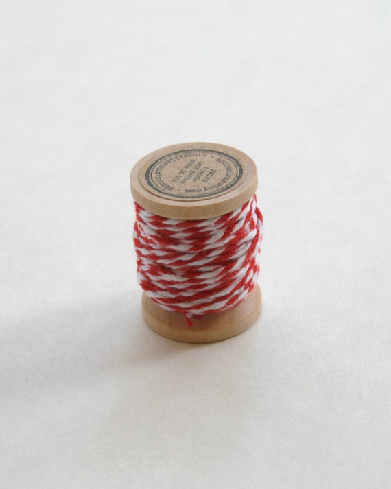 Baker's Twine on Wooden Spool - 5 Yards - 4 Ply Cotton Made in USA Maraschino Red