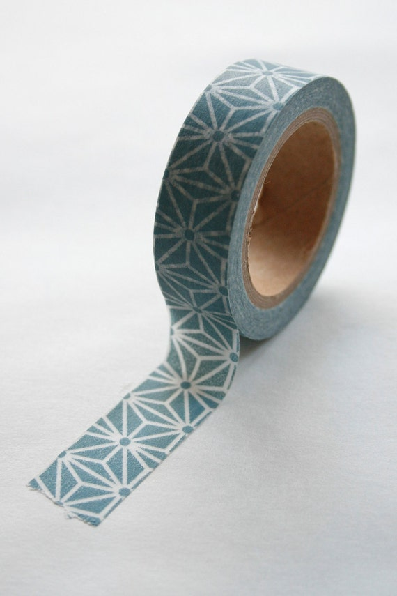 Washi Tape - 15mm - Steel Grey Blue and White Large Geometric Pattern - Deco Paper Tape No. 338