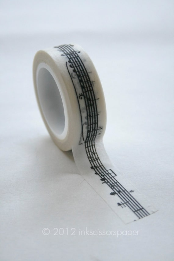 Washi Tape - 15mm - Black Musical Notes on White Pattern - Deco Paper Tape No. 319