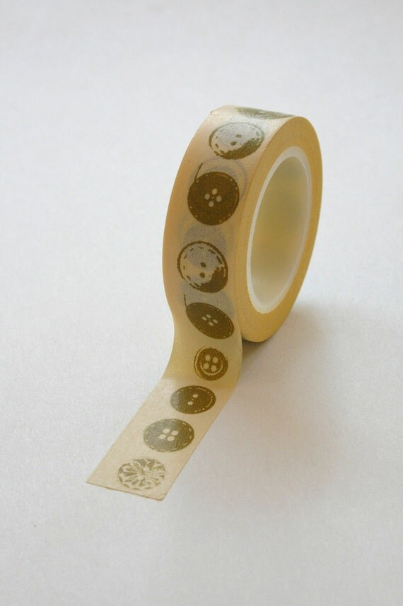 Washi Tape - 15mm - Olive Buttons on Butter - Deco Paper Tape No. 295