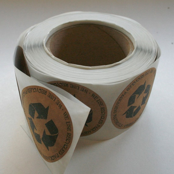QTY 100 Recycled Packaging Sticker - Let Your Customers Know You Recycle - 2.5 Inch Round Stickers - Recycled Brown Kraft