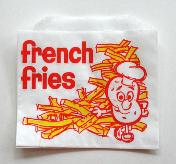 Vintage Style White French Fries Bags - Yellow with Red - Flat Bags 4.5 x 3.5 Inches - set of 50
