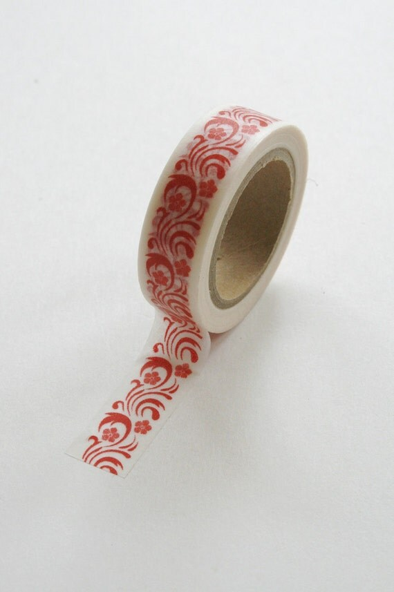Washi Tape - 15mm - Red Flourish and Floral Pattern - Deco Paper Tape No. 251