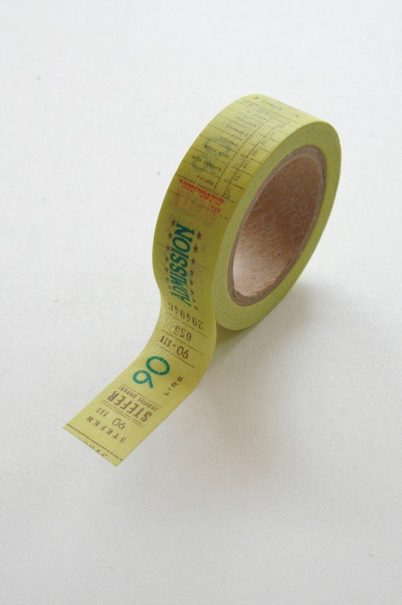 Washi Tape - 15mm - Admission Ticket on Yellow - Deco Paper Tape No. 325