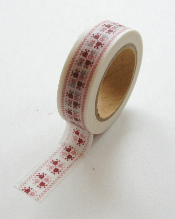 CLEARANCE - Washi Tape - 15mm - Red Cross Stitch Pattern on White - Deco Paper Tape No. 220
