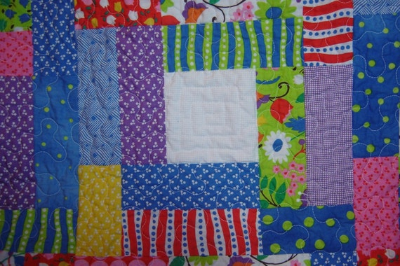 Handmade Hoopla by Moda Toddler Baby Throw Quilt