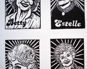 Hand Printed Golden Girls Linocut Poster