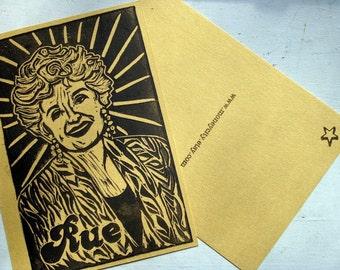 Golden Girls Postcard - Rue McClanahan - Gold