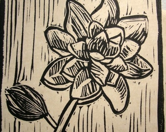 Water Lily Block Print Note Card