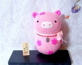 Lucky Pig-Sweet Pink-Kokeshi style sock doll