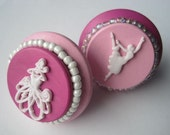 Ballerina Drawer knobs in pink with beads SET of 6