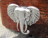 Drawer knobs - cabinet knobs - furniture knobs with Elephant in Silver Metal (MK102)