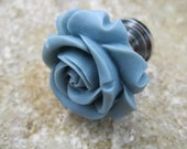 Petite Drawer knobs in Provence Blue / Grey  with Rose MORE COLORS Available (RFK07)