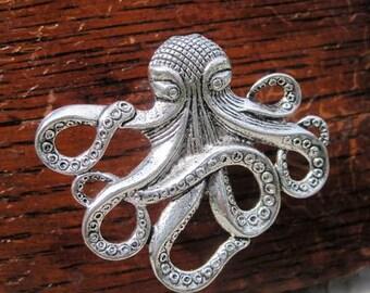 Octopus Drawer knobs - Cabinet Knobs - Furniture Knobs in Silver Metal (MK103)