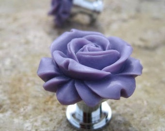 Petite Rose Drawer knobs in Dark Purple MORE COLORS Available (RFK07)