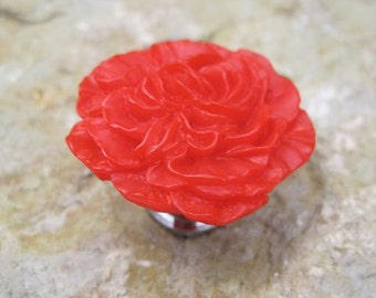 Drawer Knobs Peony Flower in Red, more COLORS available (RFK02)
