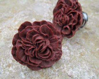 Drawer Knobs Peony Flower in Burgundy, more COLORS available (RFK02-08)