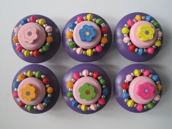 Cupcake Wooden Handpainted Drawer Pulls With A Little Flower