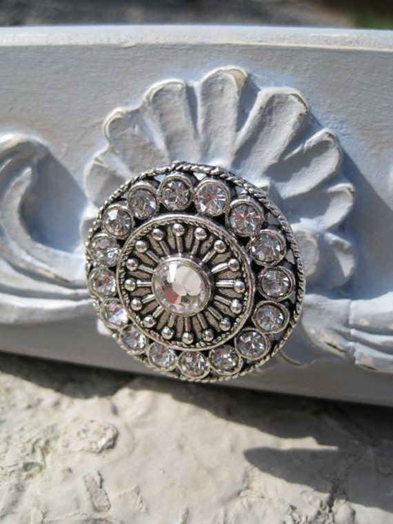 Crystal Drawer Knobs - Furniture Knobs with Clear Glass Crystals (MK113) in Silver