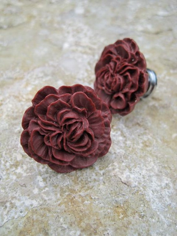 Drawer Knobs Peony Flower in Burgundy, more COLORS available (RFK02)
