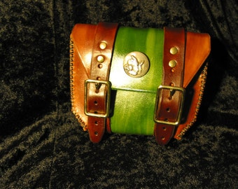 Wizard concho leather 2 buckle belt pouch