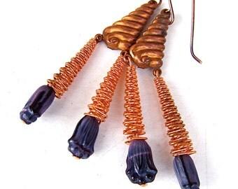 Rustic Copper Dangle Earrings w. Purple Czech Glass Flowers