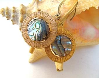 Retro Spinner Earrings in Abalone and Vintage Golden Brass