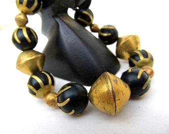 Chunky Boho Bracelet in Black Onyx and Vintage Brass - Bold Ethnic Bracelet