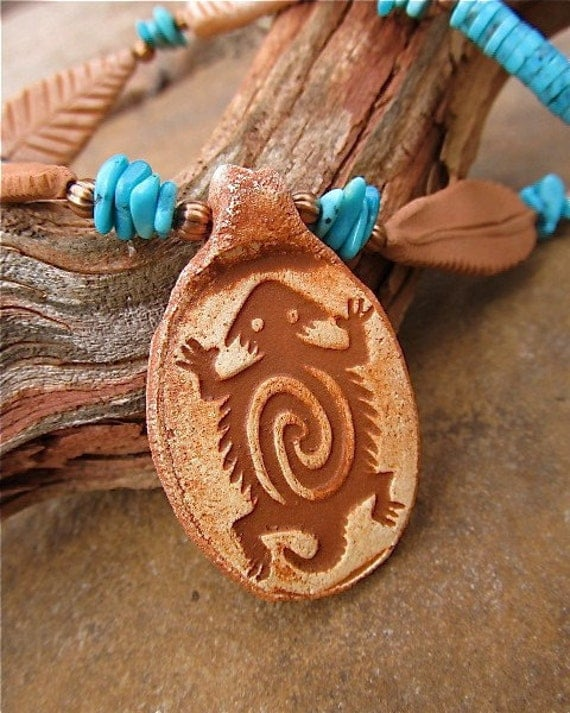 Moqui - Southwestern Lizard Pendant Necklace w. Turquoise and Handmade Clay