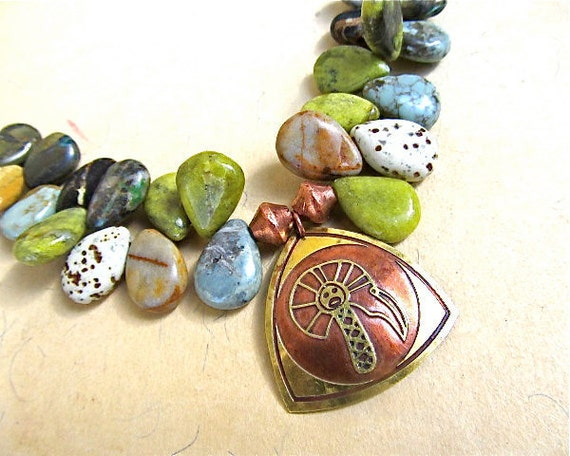Tribal Petroglyph Pendant Necklace with Rare Tortoise Turquoise