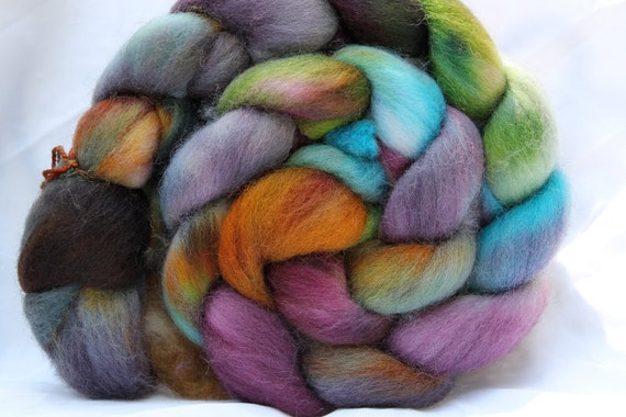 Hand Dyed Falkland roving 4 oz n96