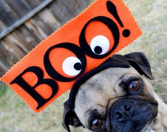 BOO hat for all size pets HALLOWEEN  ---- RUSH delivery for halloween