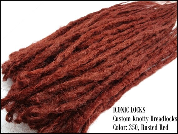 10 Rusted Red Knotty Dreadlock Extensions.