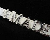 Personalised first holy communion, christening, baptism confirmation name rhinestone bracelet gift