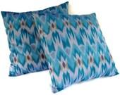 Ikat Chevron Pillows 16x16, Set of 2, Turquoise
