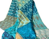 Ikat Baby Bed Cover 36x48 Aqua, Turquoise, Teal