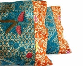 Indonesian Batik Pillow, Turquoise, Orange, Pillowcase