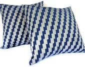 Ikat Pillows, Set of 2, 16x16, Blue