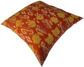 Ikat Floor Pillow, 26x26, Reversible, Orange