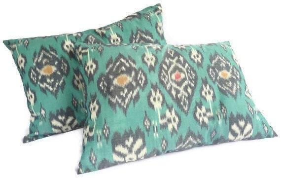 Ikat Pillows, Set of 2, 12x18, Aqua, Mint