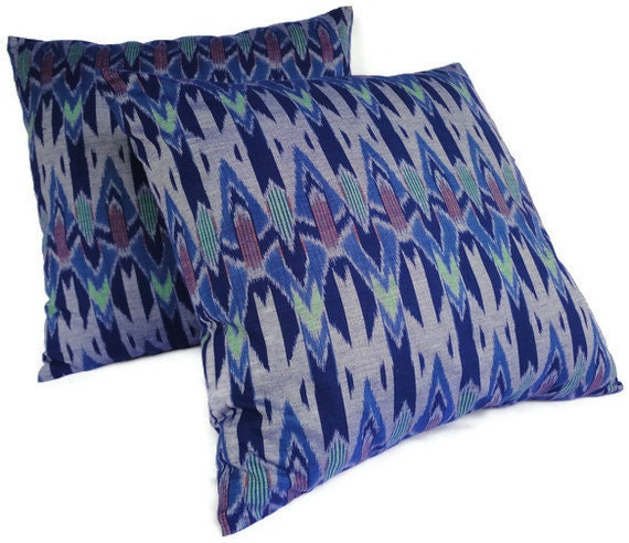 Ikat Pillows, Authentic, Handwoven, Cotton/Silk, Set of 2, 16x16